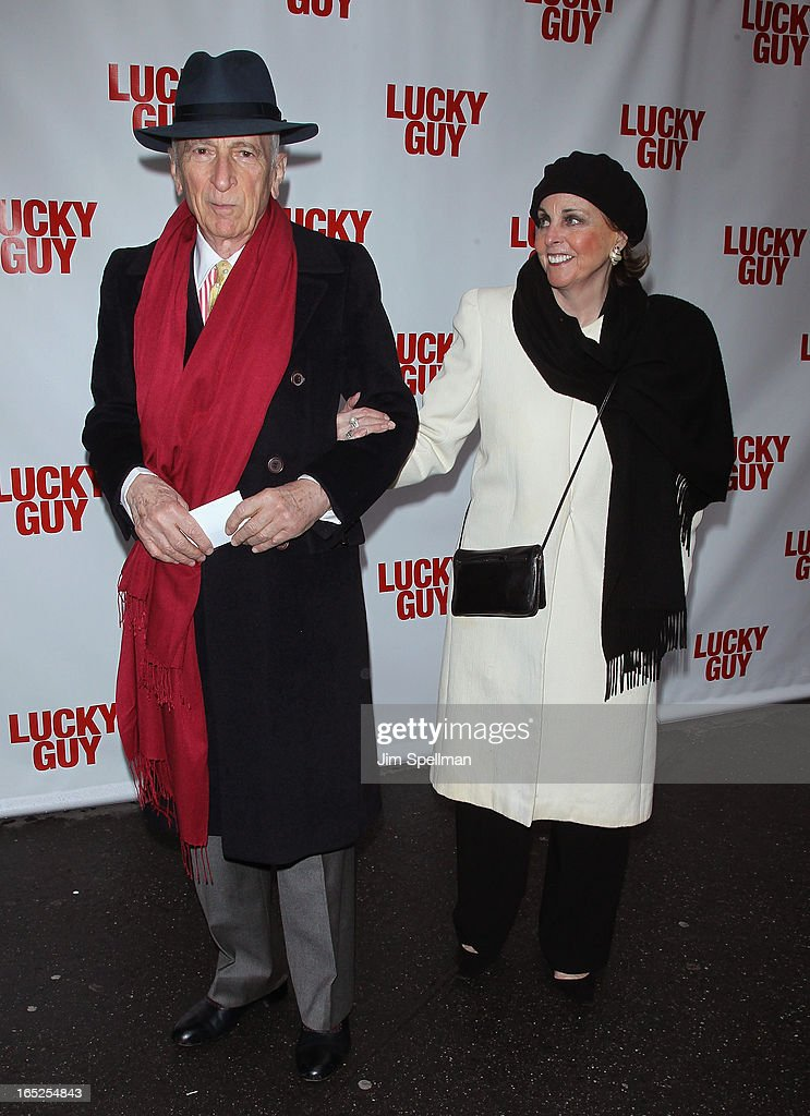 <a gi-track='captionPersonalityLinkClicked' href=/galleries/search?phrase=Gay+Talese&family=editorial&specificpeople=224015 ng-click='$event.stopPropagation()'>Gay Talese</a> and guest attend the 'Lucky Guy' Broadway Opening Night - Arrivals & Curtain Call at The Broadhurst Theatre on April 1, 2013 in New York City.