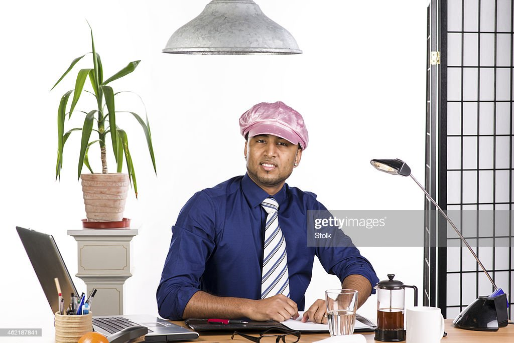 Hard working gay man in the office
