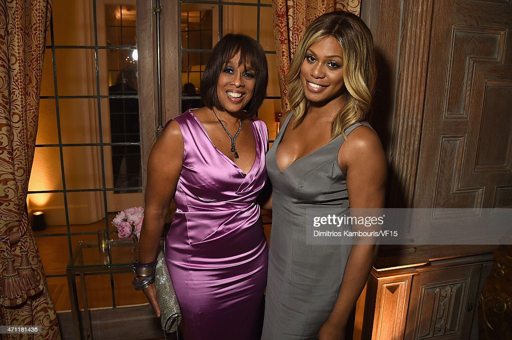 Gayle King (L) and Laverne Cox attend the Bloomberg & Vanity Fair cocktail reception following the 2015 WHCA Dinner at the residence of the French Ambassador on April 25, 2015 in Washington, DC.