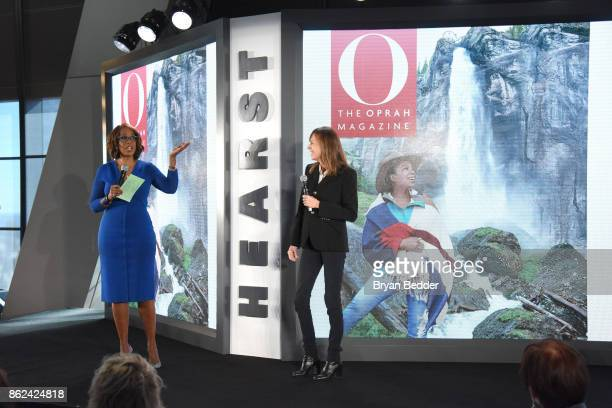 Gayle King and Lucy Kaylin speak onstage Hearst Magazines' Unbound Access MagFront at Hearst Tower on October 17 2017 in New York City