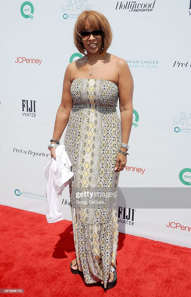 Gayle King arrives at the Ovarian Cancer Research Fund's Inaugural Super Saturday LA event at Barker Hangar on May 17, 2014 in Santa Monica, California.