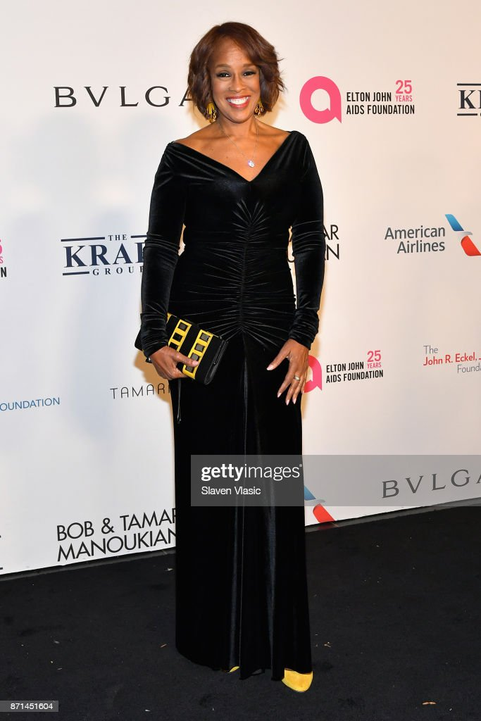 Gayle King attends the Elton John AIDS Foundation's Annual Fall Gala with Cocktails By Clase Azul Tequila at Cathedral of St. John the Divine on November 7, 2017 in New York City.