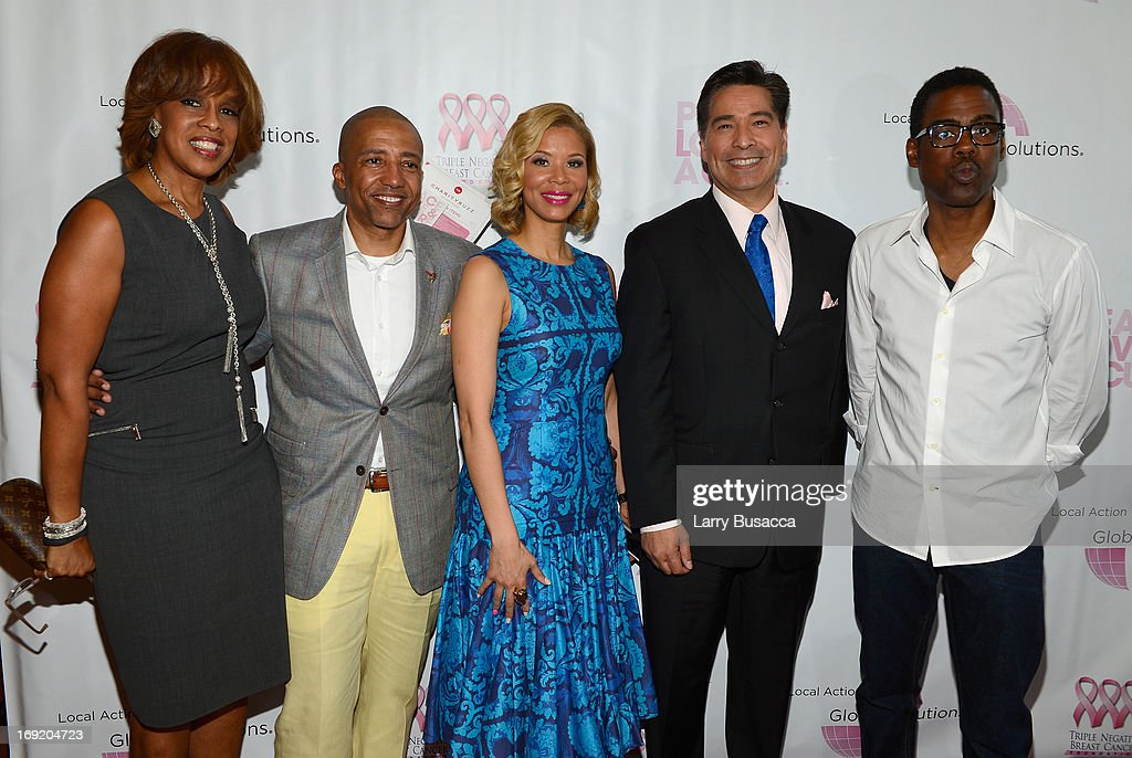 Gayle King, Record Executive Kevin Liles, Erika Liles, News Anchor David Navarro, and Chris Rock attend the 2013 Peace, Love & A Cure Triple Negative Breast Cancer Foundation Benefit on May 21, 2013 in Cresskill, New Jersey.