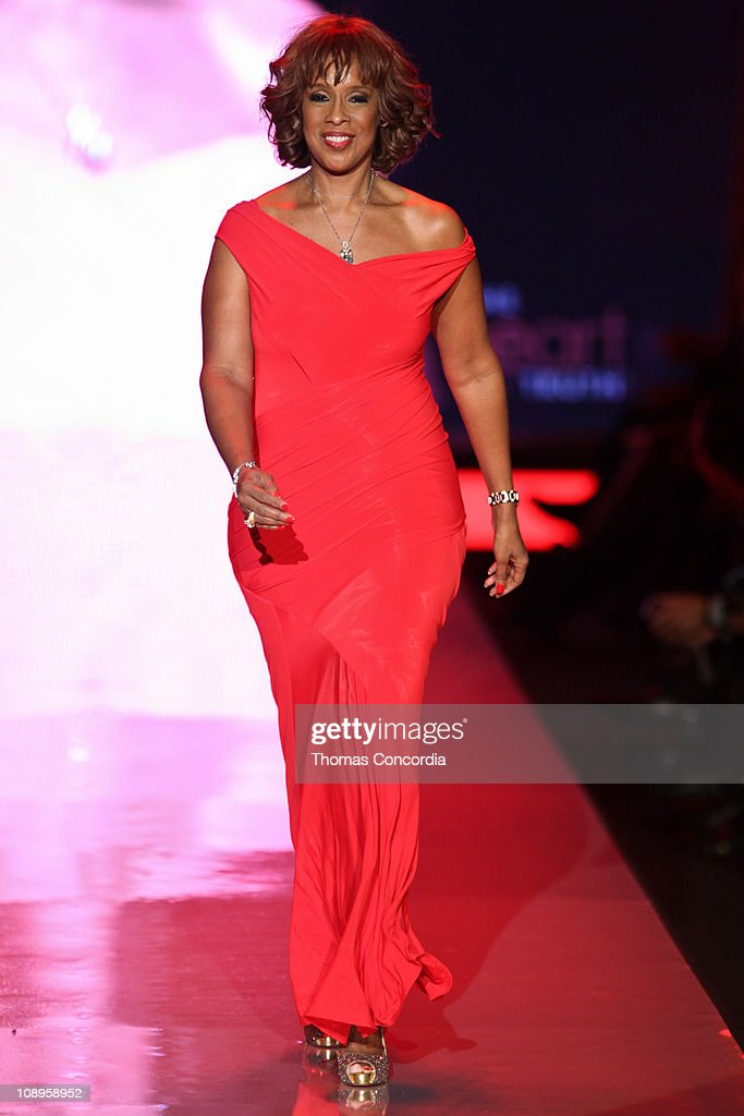 Gayle King wearing Donna Karan at the The Heart Truth's Red Dress Collection fashion show during Mercedes-Benz Fashion Week Fall 2011 at Lincoln Center on February 9, 2011 in New York City.
