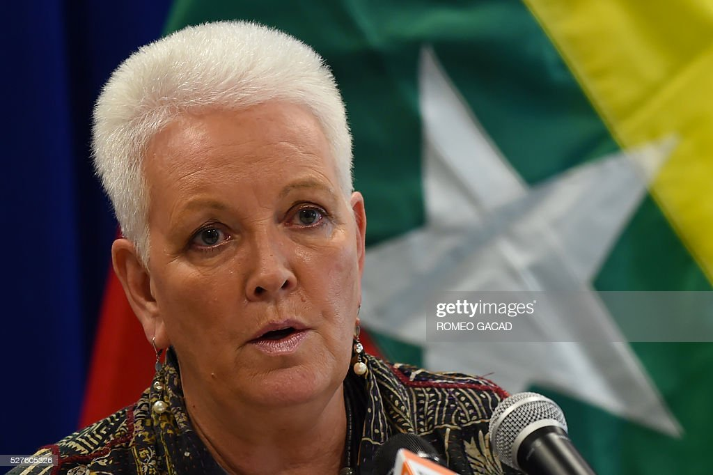 Gayle Smith, administrator of the United States Agency for International Development (USAID), speaks at a press conference at the US embassy in Yangon on May 3, 2016 at the conclusion of her three-day visit as part of mission to provide assitance to Myanmar. Smith met leaders from civil society, government and the private sector in her first trip to Asia, visiting China and Myanmar. / AFP / ROMEO