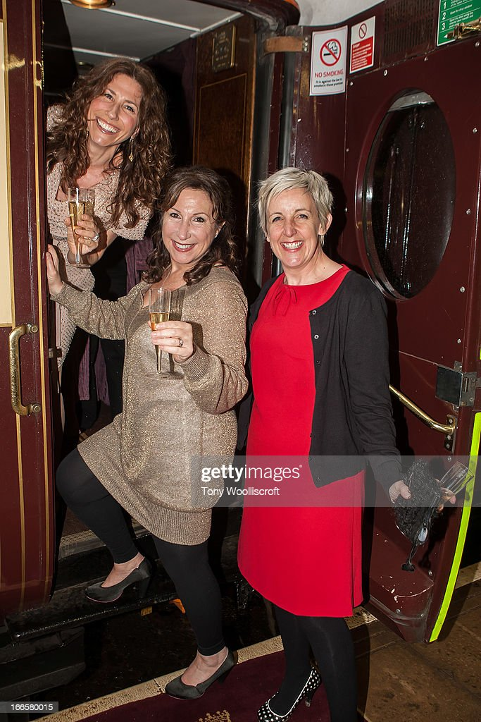 Gaynor Faye and Kay Mellor and Julie Hesmondhalgh attends as The northern Belle makes a fundraising trip in aid of the 'When You Wish Upon a Star' charity on April 13, 2013 in Manchester, England.
