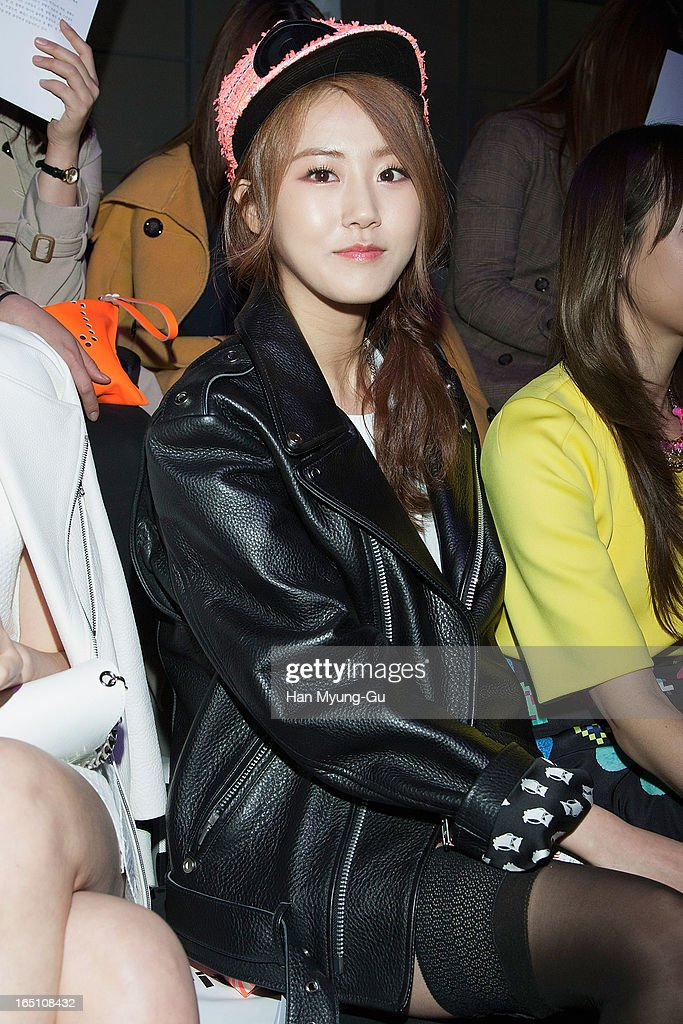 Gayun of South Korean girl group 4minute attends the 'Jardin De Chouette' Collection on March 29, 2013 in Seoul, South Korea.