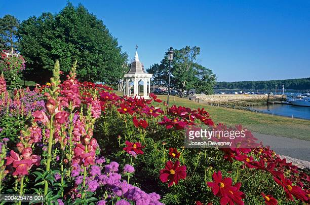 Gazebo in town park next to harbour, flowers in foreground