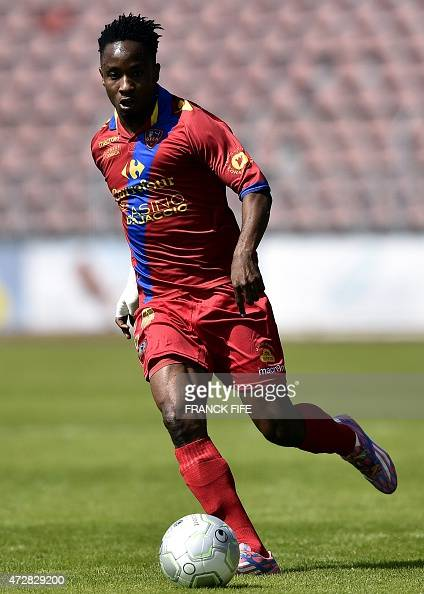 Gazelec Ajaccio's midfielder Amos Youga controls the ball during the French L2 football match between Creteil Lusitanos vs Gazelec Ajaccio on May 9...