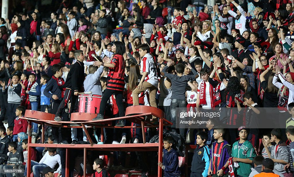 Gaziantepspor fans are seen on the photo in the match between Gaziantepspor and Fenerbahce in Gaziantep Turkey on March 24 2014Gaziantepspor vies...