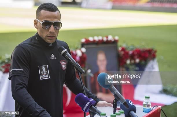 Gaziantepspor football player Ben Hatira speaks during a memorial ceremony held for Czech football player Frantisek Rajtoral who was found dead...
