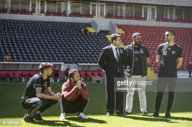 Gaziantepspor manager Hikmet Akay footballers Muhammet Demir Orhan Cinar attend a memorial ceremony held for Czech football player Frantisek Rajtoral...