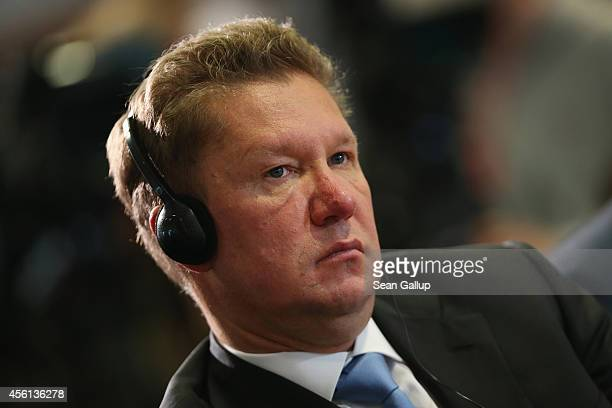 Gazprom CEO Alexei Miller attends press conferences following talks between Ukrainian Energy Minister Yuriy Prodan Russian Energy Minister Alexander...