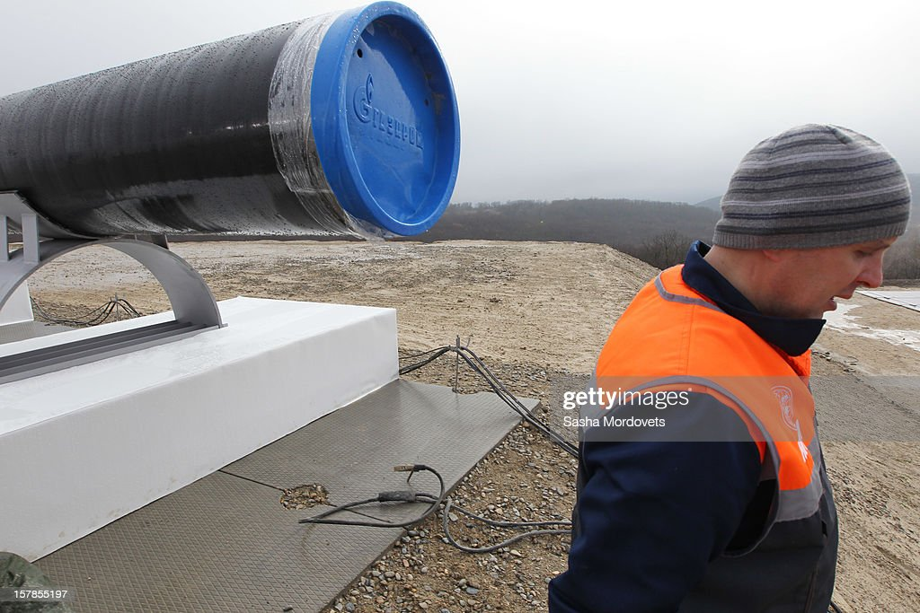 Gazprom workers attend to work at the construction site of the South Stream, a proposed gas pipeline to transport Russian natural gas through the Black Sea to Bulgaria, Greece, Italy and Austria on December 7, 2012 in Anapa, Russia. Russian President Vladimir Putin is expected to participate in the opening ceremony on Friday.