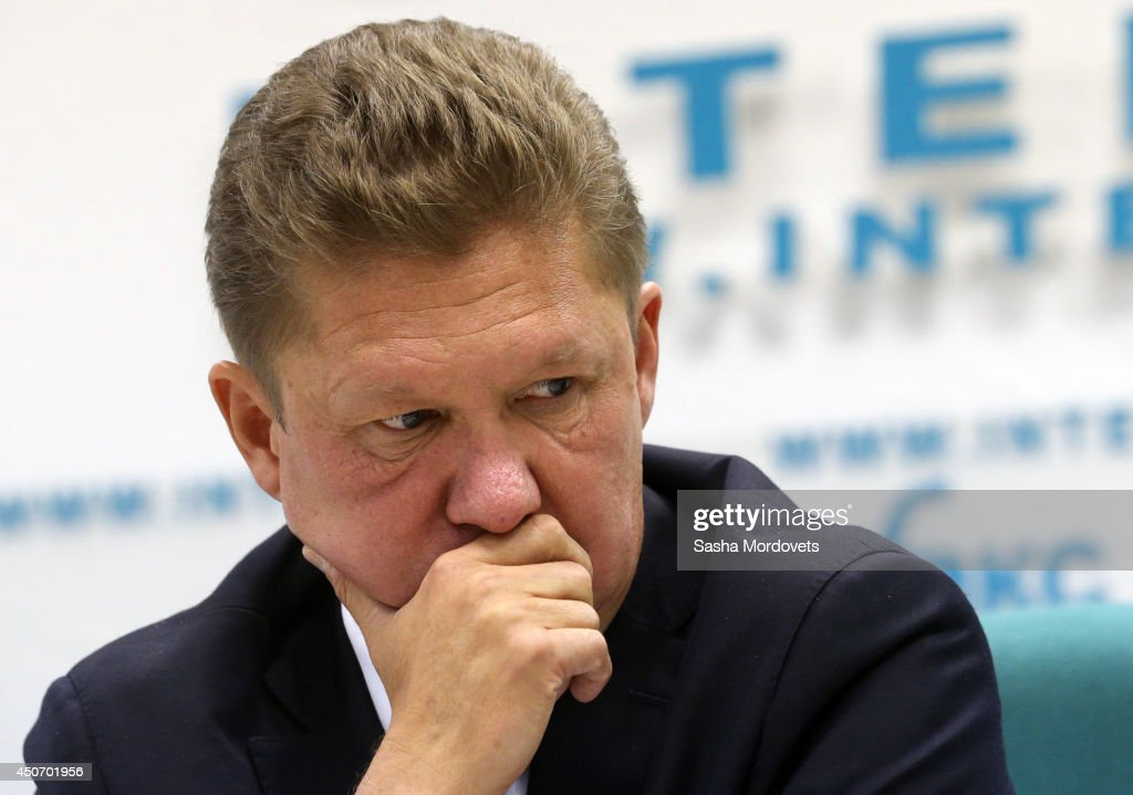 Gazprom's CEO <a gi-track='captionPersonalityLinkClicked' href=/galleries/search?phrase=Alexei+Miller&family=editorial&specificpeople=713081 ng-click='$event.stopPropagation()'>Alexei Miller</a> attends a joint press conference with Russian Energy Minister Alexander Novak about the delivery of Russian gas to Ukraine June 16, 2014 in Moscow, Russia. Russian gas giant Gazprom 10:00 a.m. local time said they would not deliver natural gas to Ukraine's Naftagaz on credit.