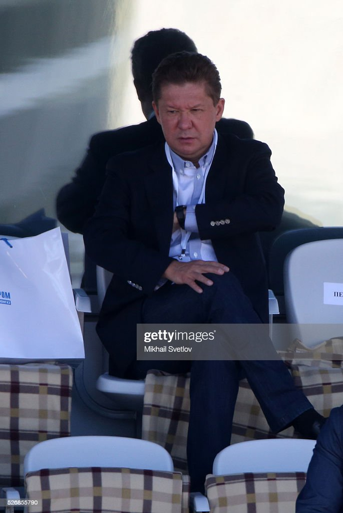 Gazprom's CEO Alexei Miller is watching the Formula One Russian Grand Prix at the Sochi Autodrom racetrack on May 1, 2016 in Sochi, Russia.