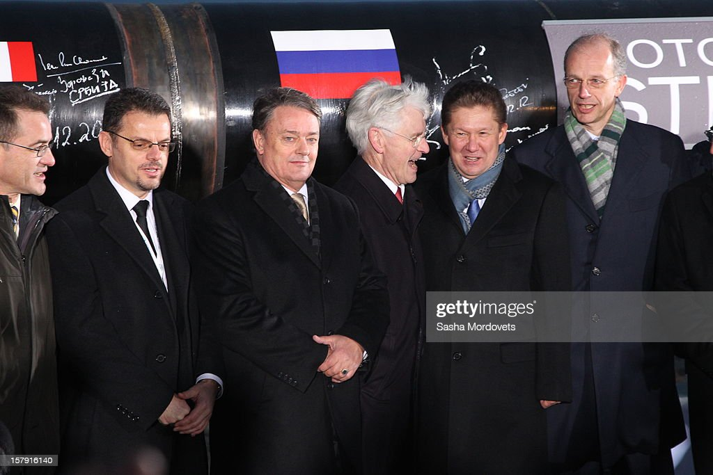 Gazprom's CEO Alexei Miller (C) visits the construction site of the South Stream, a proposed gas pipeline December 7, 2012 in Anapa, Russia. The pipeline will transport Russian natural gas through the Black Sea to Bulgaria, Greece, Italy and Austria.