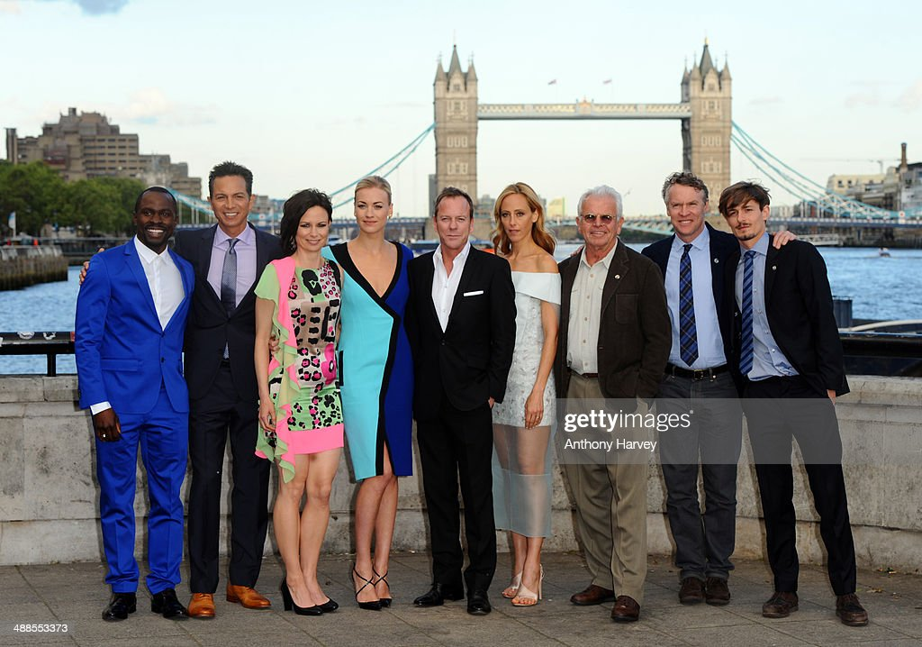 Gbenga Akinnagbe, Benjamin Bratt, Mary Lynn Rajskub, Yvonne Strahovski, Kiefer Sutherland, Kim Raver, William Devane, Tate Donovan and Giles Matthey attend the UK premiere of '24: Live Another Day' at Old Billingsgate Market on May 6, 2014 in London, England.