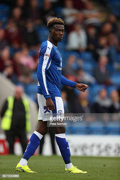 Gboly Ariybi of Chesterfield in action during the Sky Bet League One match between Chesterfield and Northampton Town at Proact Stadium on September...