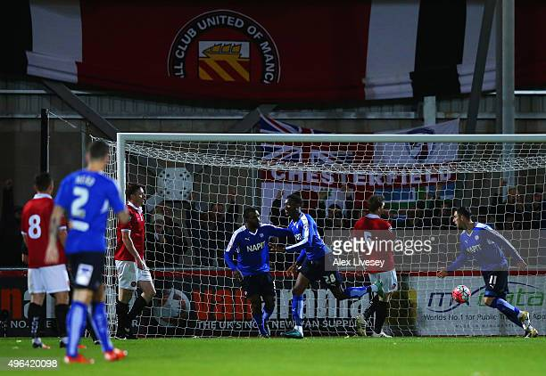 Gboly Ariyibi of Chesterfield celebrates as he scores their first goal during the Emirates FA Cup first round match between FC United of Manchester...