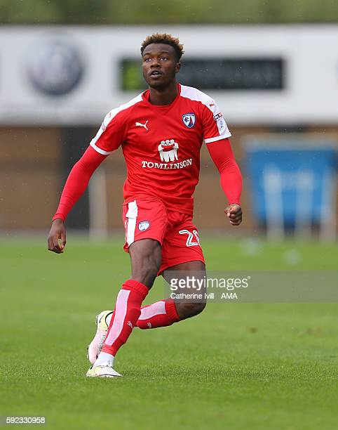Gboly Ariyibi of Chesterfield during the Sky Bet League One match between Shrewsbury Town and Chesterfield at New Meadow on August 20 2016 in...