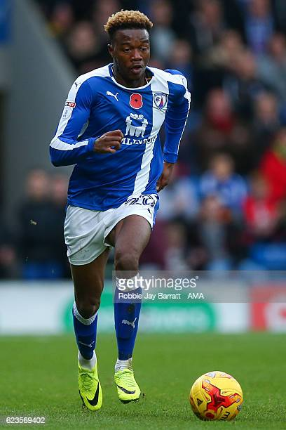 Gboly Ariyibi of Chesterfield during the Sky Bet League One match between Chesterfield and Sheffield United at Proact Stadium on November 13 2016 in...
