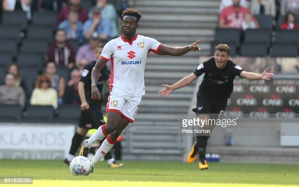 Gboly Ariyibi of Milton Keynes Dons in action during the Sky Bet League One match between Milton Keynes Dons and Oxford United at StadiumMK on...