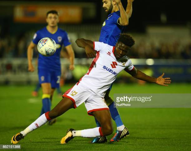 Gboly Ariyibi of MK Dons during Sky Bet League One match between AFC Wimbledon and MK Dons at Kingsmeadow Stadium London England on 22 Sept 2017