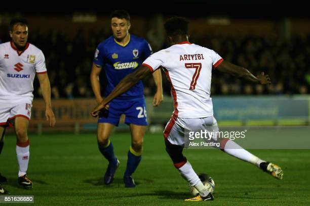 Gboly Ariyibi of MK Dons scores his sides second goal during the Sky Bet League One match between AFC Wimbledon and Milton Keynes Dons at The Cherry...