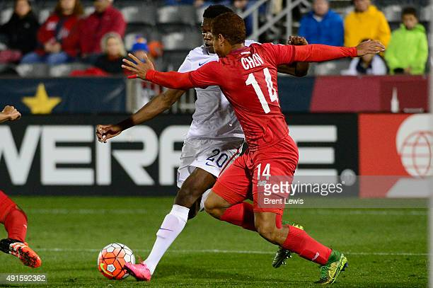 Gboly Ariyibi of the United States gets defended by Roberto Chen of Panama in the first half of the 2015 CONCACAF U23 Men's Olympic Qualifying soccer...