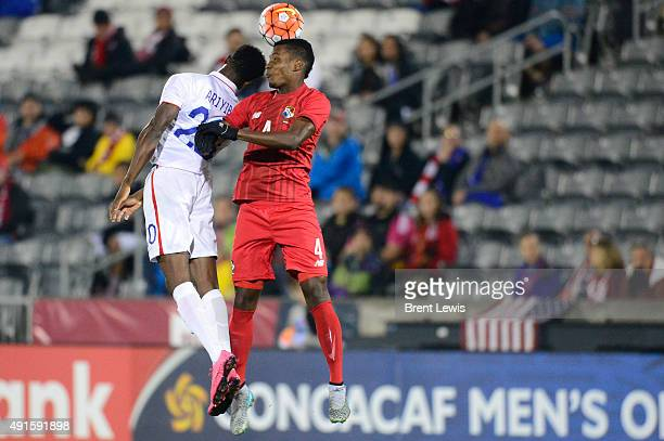 Gboly Ariyibi of the United States goes up for a header against Michael Murillo of Panama in the first half of the 2015 CONCACAF U23 Men's Olympic...