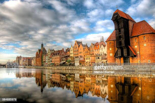 Gdansk Crane Gate and old town reflections