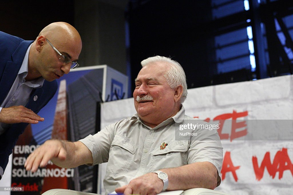 Gdansk, Poland 27th, June 2016 Former President of Poland and Solidarity Movement leader <a gi-track='captionPersonalityLinkClicked' href=/galleries/search?phrase=Lech+Walesa&family=editorial&specificpeople=93677 ng-click='$event.stopPropagation()'>Lech Walesa</a> meets members of The Committee for the Defence of Democracy (KOD) at The European Solidarity Centre in Gdansk. Walesa wants to help Polish opposition to depose the ruling party PiS. Radomir Szumelda (R) takes part in the meeting