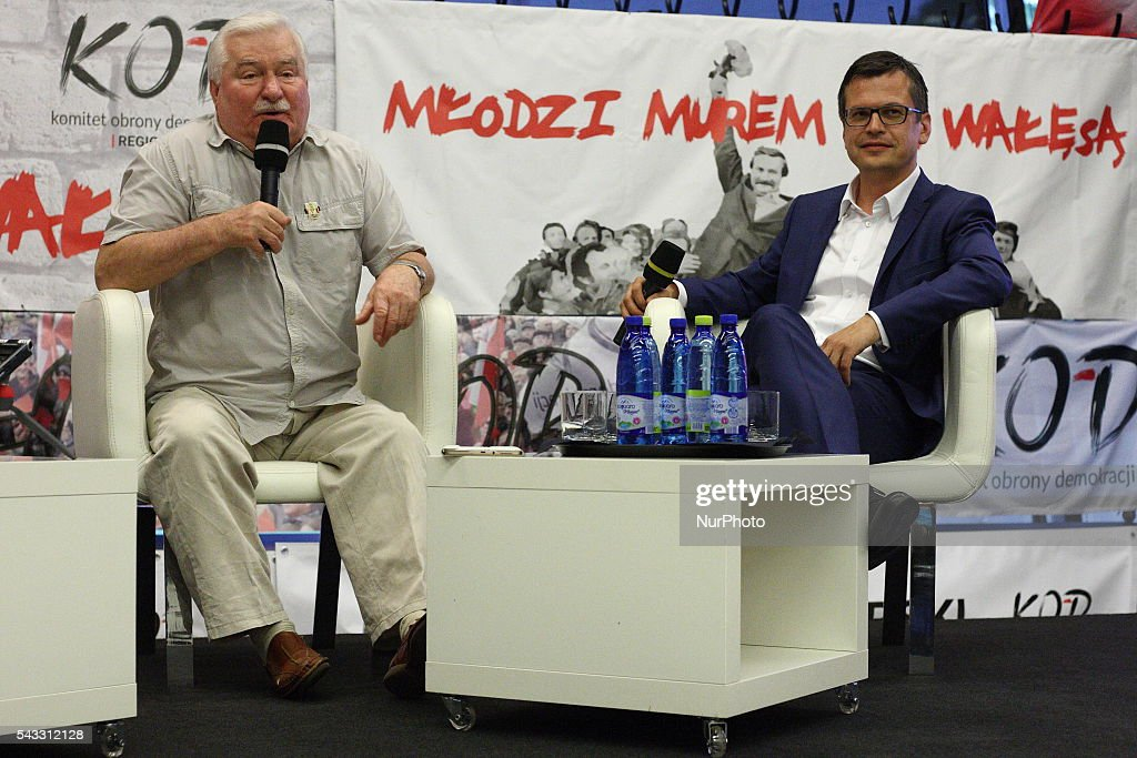 Gdansk, Poland 27th, June 2016 Former President of Poland and Solidarity Movement leader <a gi-track='captionPersonalityLinkClicked' href=/galleries/search?phrase=Lech+Walesa&family=editorial&specificpeople=93677 ng-click='$event.stopPropagation()'>Lech Walesa</a> meets members of The Committee for the Defence of Democracy (KOD) at The European Solidarity Centre in Gdansk. Walesa wants to help Polish opposition to depose the ruling party PiS. Mikolaj Chrzan takes part in the meeting