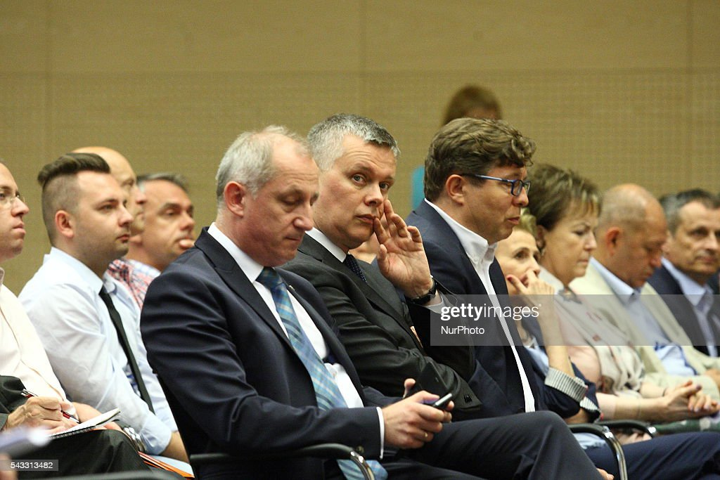 Gdansk, Poland 27th, June 2016 Slawomir Neumann (L) and Tomasz Siemoniak attend The Reginal Convention of the Civic Platform party (Platforma Obywatelska) in Gdansk.