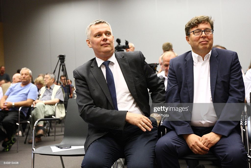 Gdansk, Poland 27th, June 2016 (L-R) Tomasz Siemoniak and Tadeusz Aziewicz attend The Reginal Convention of the Civic Platform party (Platforma Obywatelska) in Gdansk.