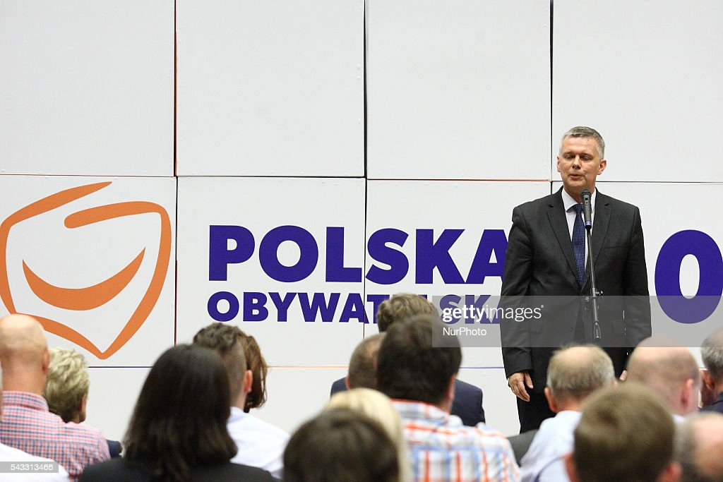 Gdansk, Poland 27th, June 2016 Tomasz Siemoniak attends The Reginal Convention of the Civic Platform party (Platforma Obywatelska) in Gdansk.