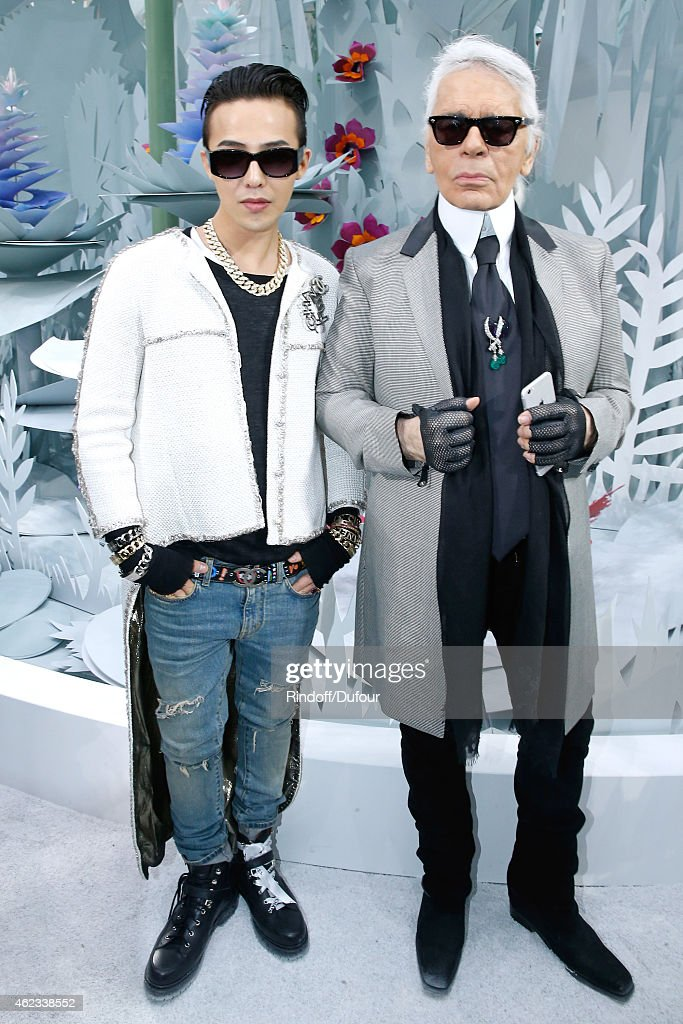 GDragon and Fashion Designer Karl Lagerfeld pose after the Chanel show as part of Paris Fashion Week Haute Couture Spring/Summer 2015 on January 27...