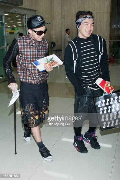 GDragon and Taeyang of South Korean boy band Bigbang are seen upon arrival at Gimpo International Airport on April 29 2013 in Seoul South Korea