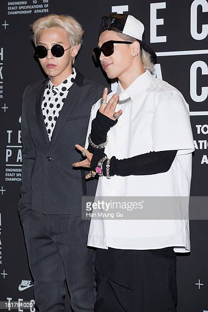 GDragon and Taeyang of South Korean boy band Bigbang attend a promotional event for the NIKE 'Tech Pack' Showcase at Shilla Hotel on September 24...