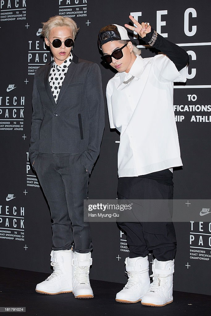 G-Dragon and Taeyang of South Korean boy band Bigbang attend a promotional event for the NIKE 'Tech Pack' Showcase at Shilla Hotel on September 24, 2013 in Seoul, South Korea.