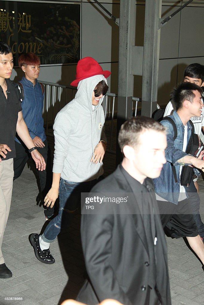 G-Dragon of BIGBANG arrives at airport on Monday July 28,2014 in Hong Kong,China.