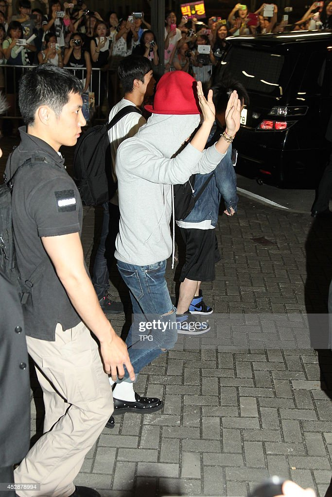 G-Dragon of BIGBANG arrives at airport on Monday July 28,2014 in Hong Kong,China.