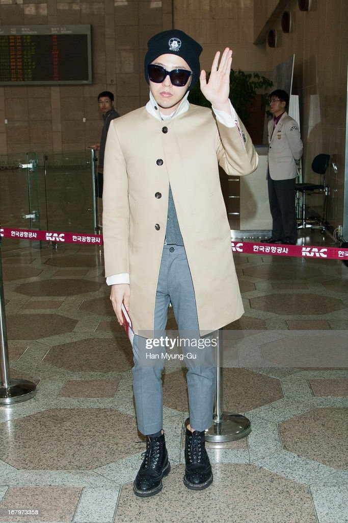 Dragon of South Korean boy band Bigbang is seen on departure at Gimpo International Airport on May 3 2013 in Seoul South Korea