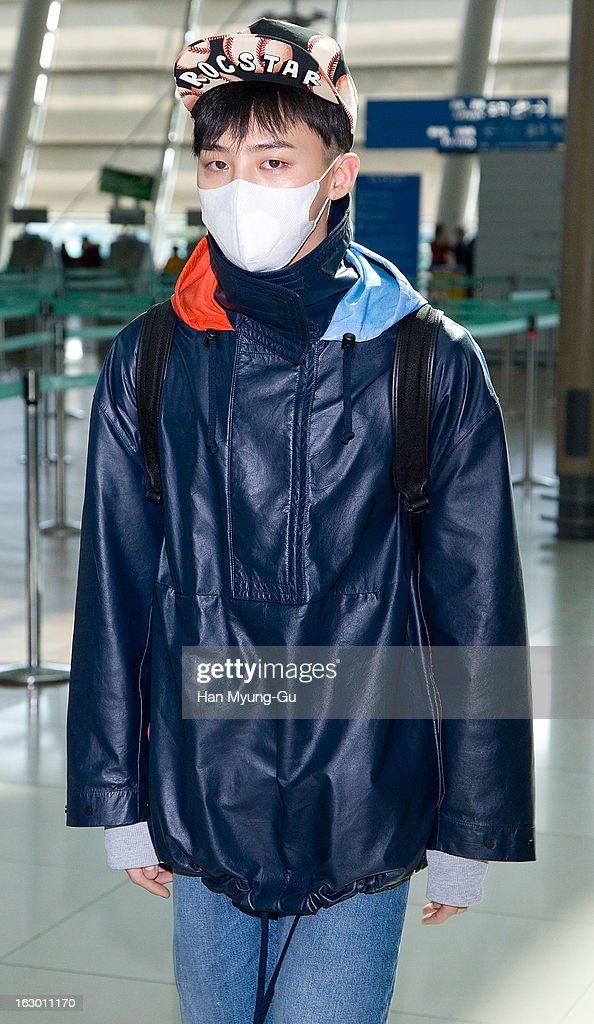G-Dragon of South Korean boy band Bigbang is seen on departure to Jeju Island at Incheon International Airport on March 3, 2013 in Incheon, South Korea.