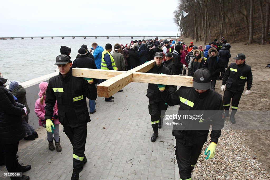 Gdynia Poland 12th March 2016 People participate in the Sea Way of the Cross in Gdynia The faithful departed from the church of St Michael the...