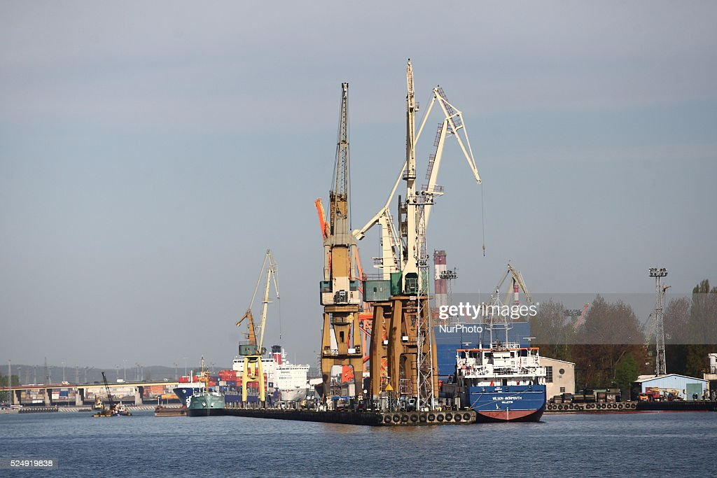 Gdynia Poland 6th May 2015 In Pictures Gdynia Port in Northern Poland at the Baltic Sea coast Pictured General Cargo vessel Wilson Avonmouth sits at...