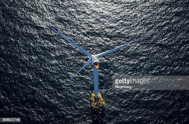 Alstom wind turbine stands in this aerial photograph taken above the water off Block Island Rhode Island US on Wednesday Sept 14 2016 The...