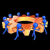 gear wheel business process teamwork characters cogwheel abstract orange blue. team work men turning gearwheel together. partnership, human resources cooperation concept. 3d rendering