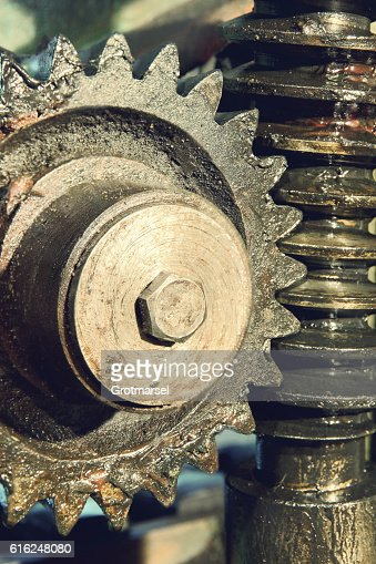 Gear wheel, cogs and screw of old machine. : Stock Photo